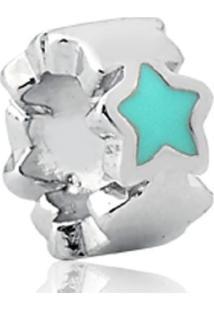 Pingente De Prata 925 Charms De Estrela Azul