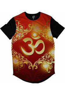Camiseta Longline Long Beach Ohm Ouro Florais Sublimada Vermelho