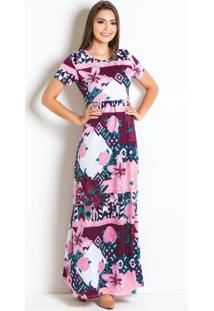 Vestido Longo Com Pregas Floral Mdoa Evangélica