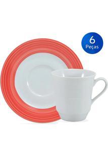 Conjunto 6 Xícaras De Chá Com Pires Saturno Borda Vermelha - Schmidt - Branco / Vermelho