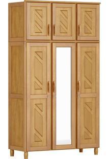 Guarda-Roupa Grécia Solteiro Mel Com Espelho 6 Portas Madeira Maciça De Pinus Cavazotto