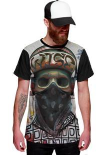 Camiseta Di Nuevo Caveira Rapper Skull Color Bandana Preta