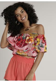 Blusa Feminina Cropped Ciganinha Estampada Floral Manga Curta Rosa