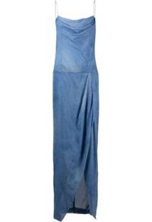 Balmain Vestido Jeans Longo - Azul