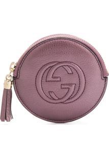 Gucci Bolsa Carteira Redonda Com Logo Gg Gravado - Roxo