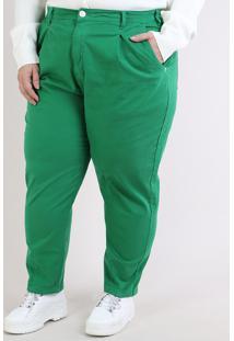 Calça De Sarja Mindset Feminina Plus Size Mom Cintura Alta Com Bolsos Verde
