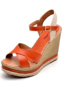 Sandália Dr Shoes Anabela Laranja