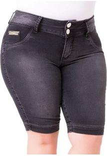 Bermuda Feminina Style Em Jeans Plus Size - Feminino-Preto
