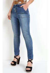 Calça Eventual Com Elástico Na Cintura Jeans