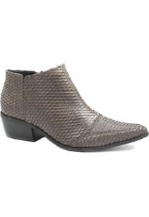 Bota Zariff Shoes Ankle Boot Couro Feminina - Feminino-Cinza