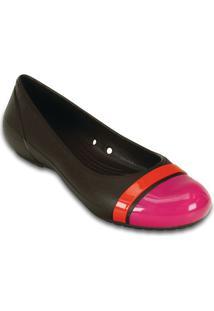 Sapatilha Crocs® Cap Toe Flat- Marrom Escuro & Rosacrocs