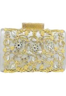Bolsa Clutch Liage Pedraria Brilhante, Cristais E Metal Prata E Dourada