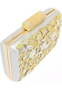 Bolsa Clutch Liage Pedraria Pedra Brilhante Cristal Strass Metal Strass Festa Dourada Prata - Dourado/Prata - Feminino - Dafiti