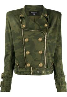 Balmain Jaqueta Militar Com Estampa Camuflada - Verde