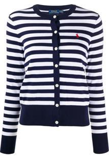 Polo Ralph Lauren Cardigan Listrado Com Logo Bordado - Azul