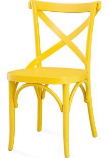 Cadeira X Para Bar De Madeira Maciça - Laca Amarela - Madeleine - 50X54,5X86 Cm