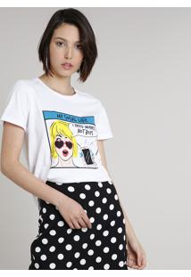 "Blusa Feminina ""I Need Money, Not Boys"" Manga Curta Decote Redondo Off White"