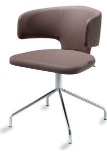 Cadeira Hug Slim Assento Estofado Linho Trufa Com Base Cromada - 46888 - Sun House