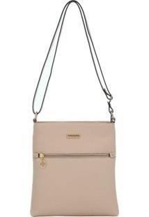 Bolsa Smart Bag Couro Transversal - Feminino-Nude