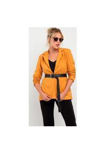Blazer Elora Elegantic Com Cinto Feminino Amarelo