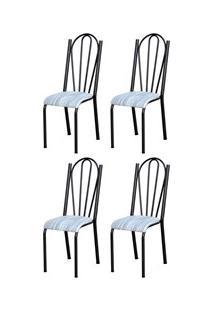 Kit 4 Cadeiras 021 América Cromo/Preto Linho - Artefamol