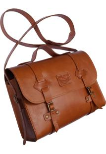 Bolsa Line Store Leather Satchel Oregon Pequena Couro Whisky Rústico - Kanui