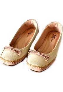 Sapato Prata Couro Conforto 100906 Marfim/Nude