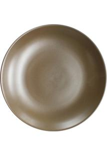 Prato De Sobremesa Em Cerâmica Redondo 22Cm Marrom