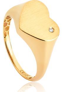 Anel De Ouro 18K Coração Com Diamante