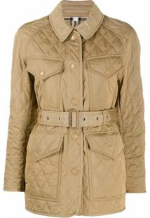 Burberry Quilted Belted Jacket - Neutro