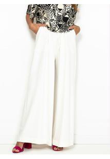 Calça Pantalona De Malha Com Bolso Branca