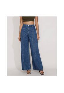 Calça Jeans Feminina Pantalona Cintura Super Alta Com Recortes Azul Escuro