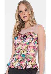 Blusa Quintess Floral Rosa Com Recorte Em Tule
