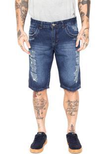 Bermuda Jeans Fiveblu Slim Desgastes Azul