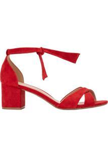 Amaro Feminino Sandália Amarração Tiras Cruzadas, Vermelho Escuro