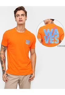 Camiseta Ellus Waves Estampada - Masculino-Laranja