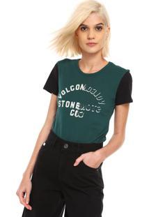 Camiseta Volcom Easy Babe Verde/Preta