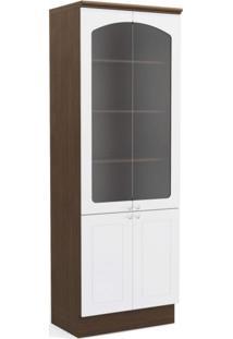 Armário Alto De Cozinha 4 Portas G612 Provenzza Kappesberg Jacaranda/Branco