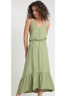 Vestido Feminino Midi Com Recorte E Botões Alça Fina Verde