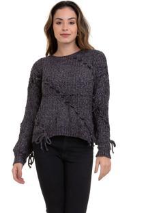 Suéter Kinara Tricot Com Trançado Cinza - Kanui