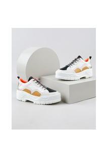 Tênis Feminino Oneself Chunky Sneaker Plataforma Com Recortes Branco