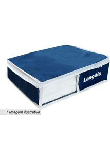 Organizador De Lençóis- Azul Marinho & Branco- 10X40Vb Home
