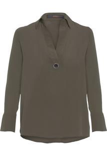 Camisa Feminina Polo Ilhós Lisa - Verde