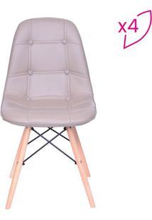 Jogo De Cadeiras Eames Com Botonãª- Bege- 4Pã§S- Oor Design