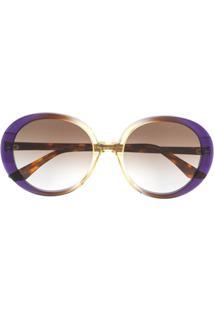 Emmanuelle Khanh Óculos De Sol Degradê Redondo - Roxo