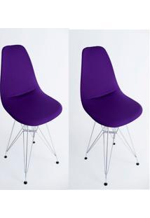 Kit Com 02 Capas Para Cadeira Charles Eames Eiffel Wood Roxo