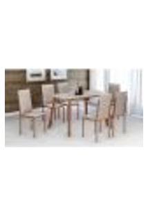 Conjunto De Mesa Com Tampo De Vidro E 6 Cadeiras Glória Cobre E Off White