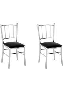 Kit 2 Cadeiras Pc12 Assento Nobuck Preto - Pozza