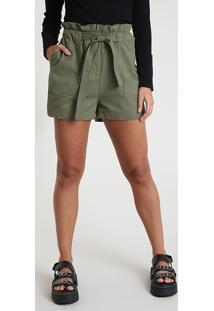 Short Feminino Clochard Cintura Alta Com Bolsos E Faixa Para Amarrar Verde Militar