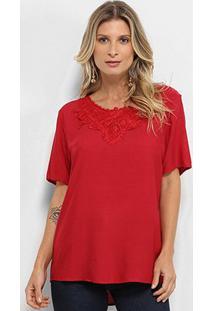 Blusa Aidi Bata Guipir Feminina - Feminino-Vermelho